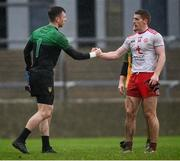 1 November 2020; Shaun Patton of Donegal and Peter Harte of Tyrone shake hands following the Ulster GAA Football Senior Championship Quarter-Final match between Donegal and Tyrone at Pairc MacCumhaill in Ballybofey, Donegal. Photo by Harry Murphy/Sportsfile