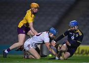 31 October 2020; Wexford goalkeeper Mark Fanning, supported by team mate Simon Donohoe, saves at the feet of Conor Cooney of Galway during the Leinster GAA Hurling Senior Championship Semi-Final match between Galway and Wexford at Croke Park in Dublin. Photo by Ray McManus/Sportsfile