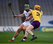 31 October 2020; Niall Burke of Galway in action against Simon Donohoe of Wexford during the Leinster GAA Hurling Senior Championship Semi-Final match between Galway and Wexford at Croke Park in Dublin. Photo by Ray McManus/Sportsfile