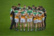 1 November 2020; Offaly players during a huddle prior to the Leinster GAA Football Senior Championship Round 1 match between Offaly and Carlow at Bord na Mona O'Connor Park in Tullamore, Offaly. Photo by Seb Daly/Sportsfile