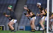 31 October 2020; Kilkenny goalkeeper Eoin Murphy and defenders Conor Delaney, Huw Lawlor and Ciaran Wallace   during the Leinster GAA Hurling Senior Championship Semi-Final match between Dublin and Kilkenny at Croke Park in Dublin. Photo by Ray McManus/Sportsfile
