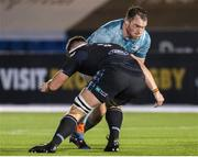 2 November 2020: Peter Dooley of Leinster is tackled by Hamish Bain of Glasgow Warriors during the Guinness PRO14 match between Glasgow Warriors and Leinster at Scotstoun Stadium in Glasgow, Scotland. Photo by Ross Parker/Sportsfile