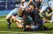 2 November 2020; Scott Penny of Leinster, supported by team-mate James Tracy, goes over to score his side's third try during the Guinness PRO14 match between Glasgow Warriors and Leinster at Scotstoun Stadium in Glasgow, Scotland. Photo by Ross Parker/Sportsfile