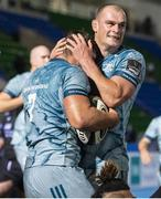 2 November 2020; Scott Penny, left, of Leinster celebrates with team-mate Rhys Ruddock after scoring his side's third try during the Guinness PRO14 match between Glasgow Warriors and Leinster at Scotstoun Stadium in Glasgow, Scotland. Photo by Ross Parker/Sportsfile