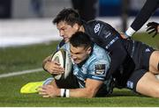 2 November 2020; Cian Kelleher of Leinster is tackled by Sam Johnson of Glasgow Warriors during the Guinness PRO14 match between Glasgow Warriors and Leinster at Scotstoun Stadium in Glasgow, Scotland. Photo by Ross Parker/Sportsfile