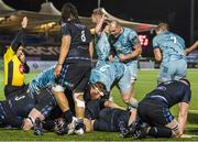 2 November 2020; Rhys Ruddock, centre, of Leinster celebrates after team-mate Michael Bent scored their side's fourth try during the Guinness PRO14 match between Glasgow Warriors and Leinster at Scotstoun Stadium in Glasgow, Scotland. Photo by Ross Parker/Sportsfile