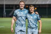 2 November 2020: Leinster's Dan Leavy, left, and debutant David Hawkshaw after the Guinness PRO14 match between Glasgow Warriors and Leinster at Scotstoun Stadium in Glasgow, Scotland. Photo by Ross Parker/Sportsfile