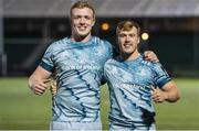 2 November 2020: Leinster's Dan Leavy, left, and debutant David Hawkshaw following the Guinness PRO14 match between Glasgow Warriors and Leinster at Scotstoun Stadium in Glasgow, Scotland. Photo by Ross Parker/Sportsfile