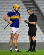 1 November 2020; Ronan Maher of Tipperary has his name taken by referee Liam Gordon during the Munster GAA Hurling Senior Championship Semi-Final match between Tipperary and Limerick at Páirc Uí Chaoimh in Cork. Photo by Brendan Moran/Sportsfile