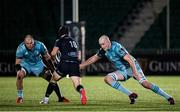2 November 2020: Rhys Ruddock, left, and Devin Toner of Leinster tackle Pete Horne of Glasgow Warriors during the Guinness PRO14 match between Glasgow Warriors and Leinster at Scotstoun Stadium in Glasgow, Scotland. Photo by Ross Parker/Sportsfile