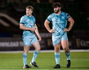 2 November 2020: David Hawkshaw, left, and Michael Milne of Leinster during the Guinness PRO14 match between Glasgow Warriors and Leinster at Scotstoun Stadium in Glasgow, Scotland. Photo by Ross Parker/Sportsfile