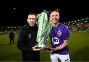 4 November 2020; Shamrock Rovers manager Stephen Bradley and captain Ronan Finn after being presented with the SSE Airtricity League Premier Division trophy following their match against St Patrick's Athletic at Tallaght Stadium in Dublin. Photo by Stephen McCarthy/Sportsfile