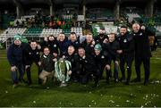 4 November 2020; Shamrock Rovers staff and board members celebrate after being presented with the SSE Airtricity League Premier Division trophy following their match against St Patrick's Athletic at Tallaght Stadium in Dublin. Photo by Stephen McCarthy/Sportsfile