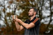 5 November 2020; PwC GAA/GPA Footballer of the Month for October, Conor McKenna of Tyrone, with his award at his home club Eglish GAA in Eglish, Tyrone. Photo by Seb Daly/Sportsfile