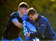 6 November 2020; Dan Sheehan, left, and Scott Penny during Leinster Rugby squad training at UCD in Dublin. Photo by Ramsey Cardy/Sportsfile