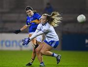 6 November 2020; Roisin Howard of Tipperary scores her side's second goal despite the efforts of Jennifer Duffy of Monaghan during the TG4 All-Ireland Senior Ladies Football Championship Round 2 match between Monaghan and Tipperary at Parnell Park in Dublin. Photo by Eóin Noonan/Sportsfile