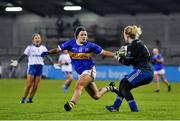 6 November 2020; Edel Corrigan of Monaghan is tackled by Roisin Howard of Tipperary during the TG4 All-Ireland Senior Ladies Football Championship Round 2 match between Monaghan and Tipperary at Parnell Park in Dublin. Photo by Eóin Noonan/Sportsfile