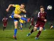 6 November 2020; Mick McDonnell of Longford Town in action against Jack Lynch of Galway United during the SSE Airtricity League First Division Play-off Final match between Galway United and Longford Town at the UCD Bowl in Belfield, Dublin. Photo by Stephen McCarthy/Sportsfile