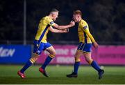 6 November 2020; Aodh Dervin of Longford Town celebrates after scoring his side's second goal with team-mate Mick McDonnell, left, during the SSE Airtricity League First Division Play-off Final match between Galway United and Longford Town at the UCD Bowl in Belfield, Dublin. Photo by Stephen McCarthy/Sportsfile
