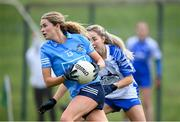 7 November 2020; Sarah McCaffrey of Dublin in action against Aisling Mullaney of Waterford during the TG4 All-Ireland Senior Ladies Football Championship Round 2 match between Dublin and Waterford at Baltinglass GAA Club in Baltinglass, Wicklow. Photo by Stephen McCarthy/Sportsfile