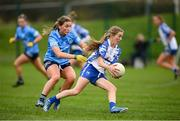 7 November 2020; Aileen Wall of Waterford in action against Aoife Kane of Dublin during the TG4 All-Ireland Senior Ladies Football Championship Round 2 match between Dublin and Waterford at Baltinglass GAA Club in Baltinglass, Wicklow. Photo by Stephen McCarthy/Sportsfile