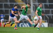 7 November 2020; Cillian Fahy of Limerick gets past Robbie Kiely of Tipperary during the Munster GAA Football Senior Championship Semi-Final match between Limerick and Tipperary at LIT Gaelic Grounds in Limerick. Photo by Piaras Ó Mídheach/Sportsfile