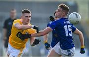 7 November 2020; James McAuley of Antrim in action against Cormac O'Reilly of Cavan during the Ulster GAA Football Senior Championship Quarter-Final match between Cavan and Antrim at Kingspan Breffni in Cavan. Photo by Ramsey Cardy/Sportsfile