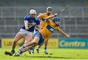 7 November 2020; Shane O'Donnell of Clare in action against Ryan Mullaney of Laois during the GAA Hurling All-Ireland Senior Championship Qualifier Round 1 match between Clare and Laois at UPMC Nowlan Park in Kilkenny. Photo by Brendan Moran/Sportsfile