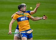 7 November 2020; Cathal Malone of Clare in action against Ryan Mullaney of Laois during the GAA Hurling All-Ireland Senior Championship Qualifier Round 1 match between Clare and Laois at UPMC Nowlan Park in Kilkenny. Photo by Brendan Moran/Sportsfile