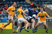 7 November 2020; Thomas Galligan of Cavan is tackled by Paddy McCormack of Antrim during the Ulster GAA Football Senior Championship Quarter-Final match between Cavan and Antrim at Kingspan Breffni in Cavan. Photo by Ramsey Cardy/Sportsfile