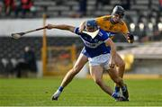 7 November 2020; Lee Cleere of Laois is tackled by Cathal Malone of Clare during the GAA Hurling All-Ireland Senior Championship Qualifier Round 1 match between Clare and Laois at UPMC Nowlan Park in Kilkenny. Photo by Brendan Moran/Sportsfile