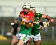 7 November 2020; Martin Kavanagh of Carlow in action against Michael Burke of Meath during the Joe McDonagh Cup Round 3 match between Carlow and Meath at Netwatch Cullen Park in Carlow. Photo by Matt Browne/Sportsfile