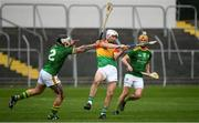 7 November 2020; Martin Kavanagh of Carlow in action against Michael Burke, left, and Alan Doughas of Meath during the Joe McDonagh Cup Round 3 match between Carlow and Meath at Netwatch Cullen Park in Carlow. Photo by Matt Browne/Sportsfile