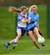 7 November 2020; Carla Rowe of Dublin in action against Aileen Wall of Waterford during the TG4 All-Ireland Senior Ladies Football Championship Round 2 match between Dublin and Waterford at Baltinglass GAA Club in Baltinglass, Wicklow. Photo by Stephen McCarthy/Sportsfile