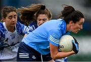 7 November 2020; Niamh McEvoy of Dublin in action against Laura Mulcahy, left, and Katie Murray of Waterford during the TG4 All-Ireland Senior Ladies Football Championship Round 2 match between Dublin and Waterford at Baltinglass GAA Club in Baltinglass, Wicklow. Photo by Stephen McCarthy/Sportsfile