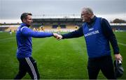 7 November 2020; Laois manager Eddie Brennan, left, fist bumps Clare manager Brian Lohan after the GAA Hurling All-Ireland Senior Championship Qualifier Round 1 match between Clare and Laois at UPMC Nowlan Park in Kilkenny. Photo by Brendan Moran/Sportsfile