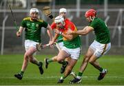 7 November 2020; Chris Nolan of Carlow in action against Paddy Conneely, left, and Sean Geraghty of Meath during the Joe McDonagh Cup Round 3 match between Carlow and Meath at Netwatch Cullen Park in Carlow. Photo by Matt Browne/Sportsfile