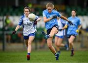 7 November 2020; Sarah McCaffrey of Dublin in action against Aoife Murray of Waterford during the TG4 All-Ireland Senior Ladies Football Championship Round 2 match between Dublin and Waterford at Baltinglass GAA Club in Baltinglass, Wicklow. Photo by Stephen McCarthy/Sportsfile