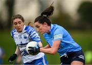 7 November 2020; Niamh McEvoy of Dublin in action against Laura Mulcahy of Waterford during the TG4 All-Ireland Senior Ladies Football Championship Round 2 match between Dublin and Waterford at Baltinglass GAA Club in Baltinglass, Wicklow. Photo by Stephen McCarthy/Sportsfile