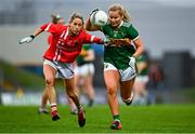 7 November 2020; Andrea Murphy of Kerry in action against Orla Finn of Cork during the TG4 All-Ireland Senior Ladies Football Championship Round 2 match between Cork and Kerry at Austin Stack Park in Tralee, Kerry. Photo by Eóin Noonan/Sportsfile