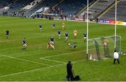 7 November 2020; Cavan goalkeeper Raymond Galligan saves a shot at goal by Patrick Gallagher of Antrim during the Ulster GAA Football Senior Championship Quarter-Final match between Cavan and Antrim at Kingspan Breffni in Cavan. Photo by Ramsey Cardy/Sportsfile