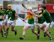 7 November 2020; Aaron Amond of Carlow in action against Darragh Kelly of Meath during the Joe McDonagh Cup Round 3 match between Carlow and Meath at Netwatch Cullen Park in Carlow. Photo by Matt Browne/Sportsfile