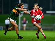7 November 2020; Orla Finn of Cork in action against Ciara Murphy of Kerry during the TG4 All-Ireland Senior Ladies Football Championship Round 2 match between Cork and Kerry at Austin Stack Park in Tralee, Kerry. Photo by Eóin Noonan/Sportsfile