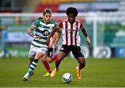 7 November 2020; Walter Figueira of Derry City in action against Lee Grace of Shamrock Rovers during the SSE Airtricity League Premier Division match between Shamrock Rovers and Derry City at Tallaght Stadium in Dublin. Photo by Seb Daly/Sportsfile