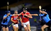 7 November 2020; Robert Downey of Cork in action against Davy Keogh, left, and Danny Sutcliffe of Dublin during the GAA Hurling All-Ireland Senior Championship Qualifier Round 1 match between Dublin and Cork at Semple Stadium in Thurles, Tipperary. Photo by Daire Brennan/Sportsfile