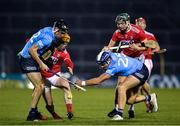 7 November 2020; Danny Sutcliffe, left, and Conal Keaney of Dublin in action against Niall O'Leary, left, and Mark Coleman of Cork during the GAA Hurling All-Ireland Senior Championship Qualifier Round 1 match between Dublin and Cork at Semple Stadium in Thurles, Tipperary. Photo by Daire Brennan/Sportsfile