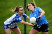 7 November 2020; Niamh McEvoy of Dublin in action against Karen McGrath of Waterford during the TG4 All-Ireland Senior Ladies Football Championship Round 2 match between Dublin and Waterford at Baltinglass GAA Club in Baltinglass, Wicklow. Photo by Stephen McCarthy/Sportsfile