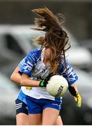 7 November 2020; Katie Murray of Waterford in action against Martha Byrne of Dublin during the TG4 All-Ireland Senior Ladies Football Championship Round 2 match between Dublin and Waterford at Baltinglass GAA Club in Baltinglass, Wicklow. Photo by Stephen McCarthy/Sportsfile