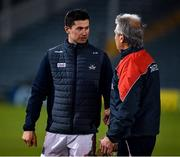 7 November 2020; Séamus Harnedy of Cork, who was substituted during the game, in conversation with Cork manager Kieran Kingston after the GAA Hurling All-Ireland Senior Championship Qualifier Round 1 match between Dublin and Cork at Semple Stadium in Thurles, Tipperary. Photo by Ray McManus/Sportsfile