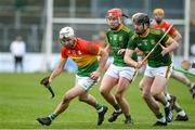 7 November 2020; Martin Kavanagh of Carlow in action against Darragh Kelly of Meath during the Joe McDonagh Cup Round 3 match between Carlow and Meath at Netwatch Cullen Park in Carlow. Photo by Matt Browne/Sportsfile